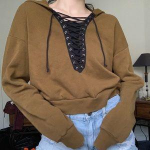 Brown lace up hoodie